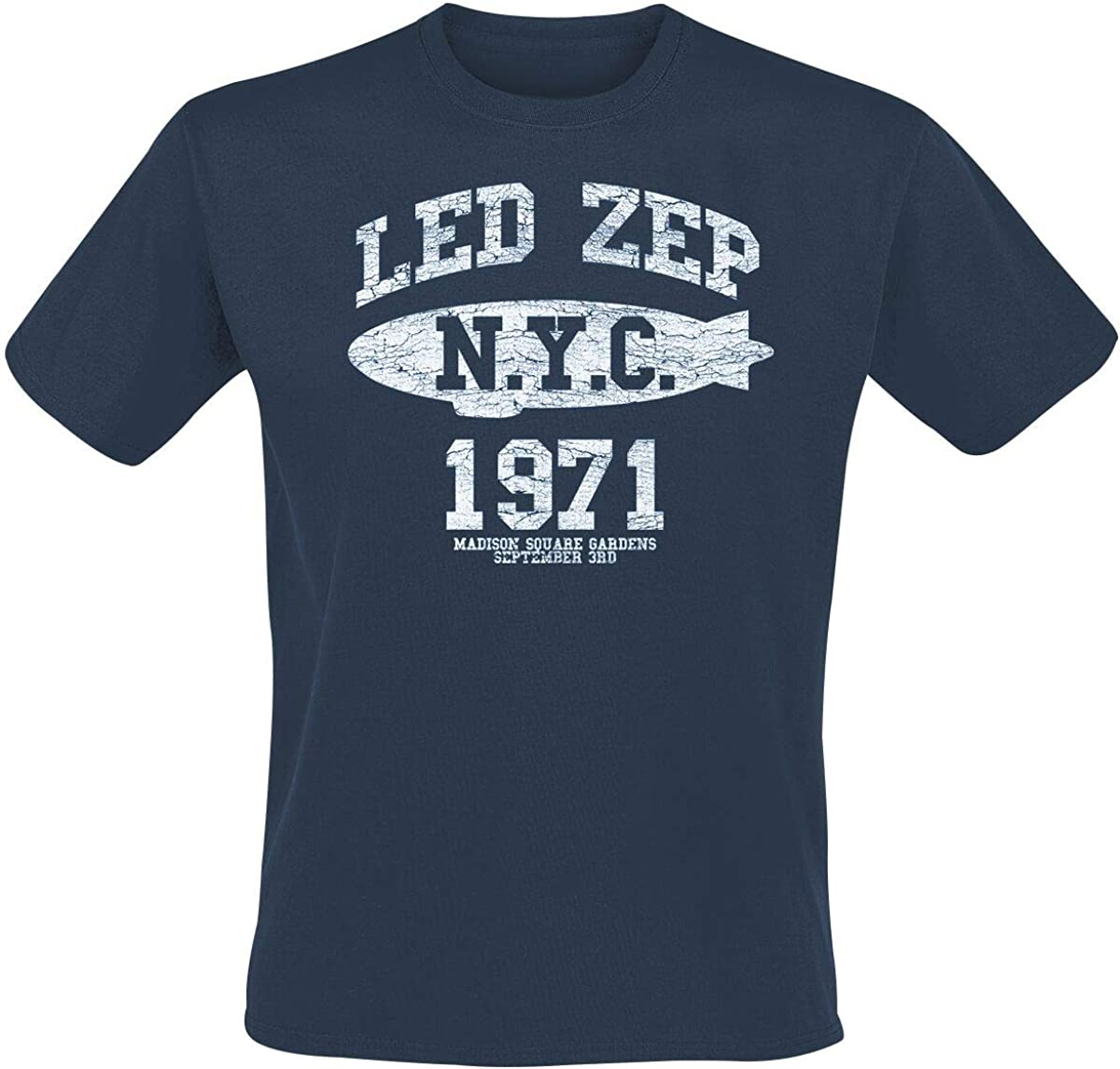 Led Zeppelin NYC 1971 Camiseta Azul: Amazon.es: Ropa y accesorios