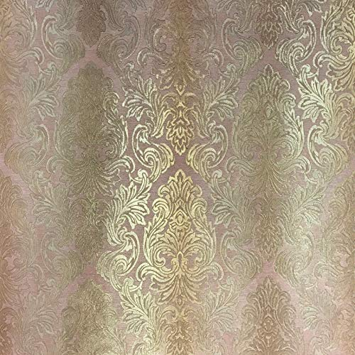 QUADRUPLE ROLL 113.52sq.ft (4 single rolls size) Slavyanski wallcovering washable victorian pattern Vinyl Non-Woven Wallpaper rose gold pink orange textured stripe paste wall glitters metallic damask ()