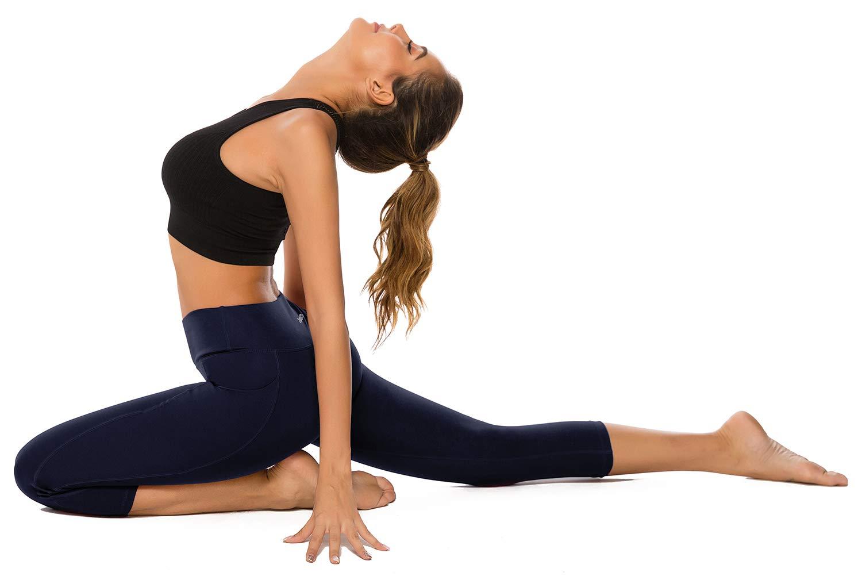 AUU High Waist Yoga Capris Leggings with Pockets 4 Way Stretch Running Pants Workout Leggings