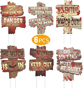 Leipal 6pcs Halloween Yard Decorations Outdoor Garden Signs with Stakes Lawn Decor
