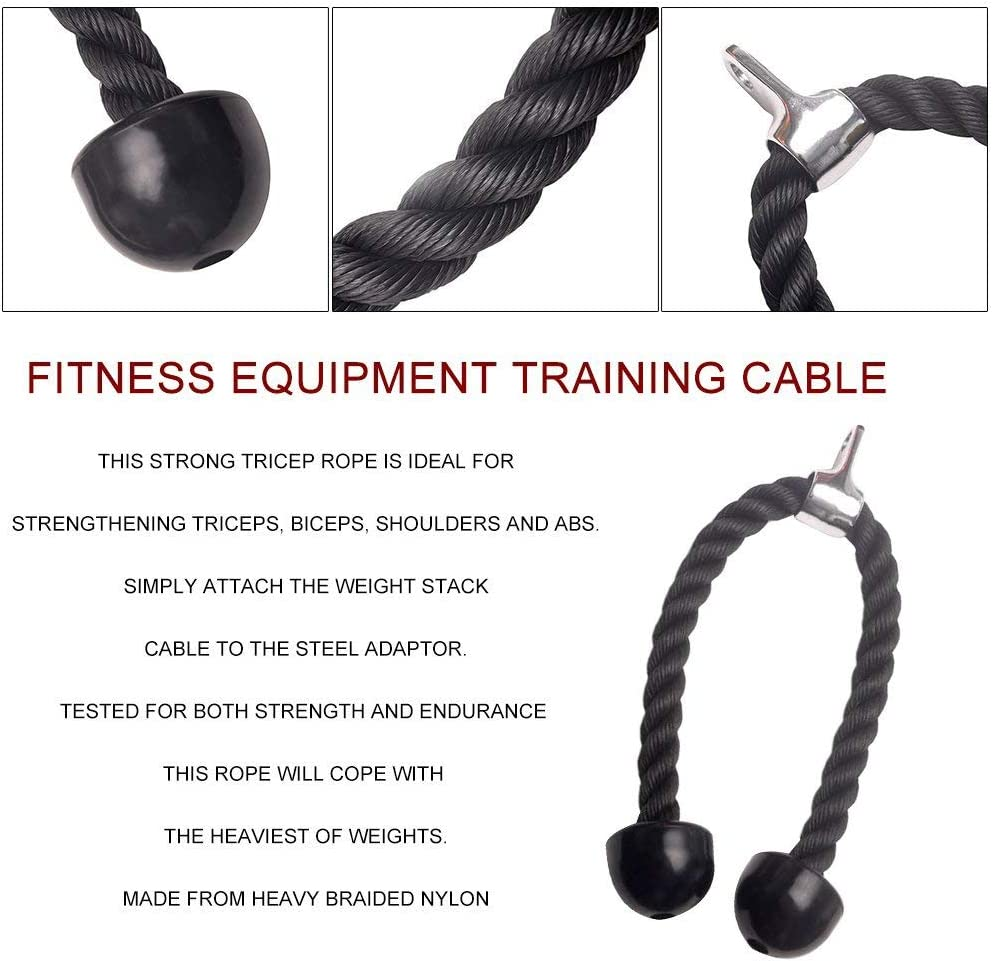 Alomejor Yanmeer Poids Fitness Fixation c/âble Direct Heavy Duty Corde Triceps Musculation Corps pour Entra/înement Sports Fitness