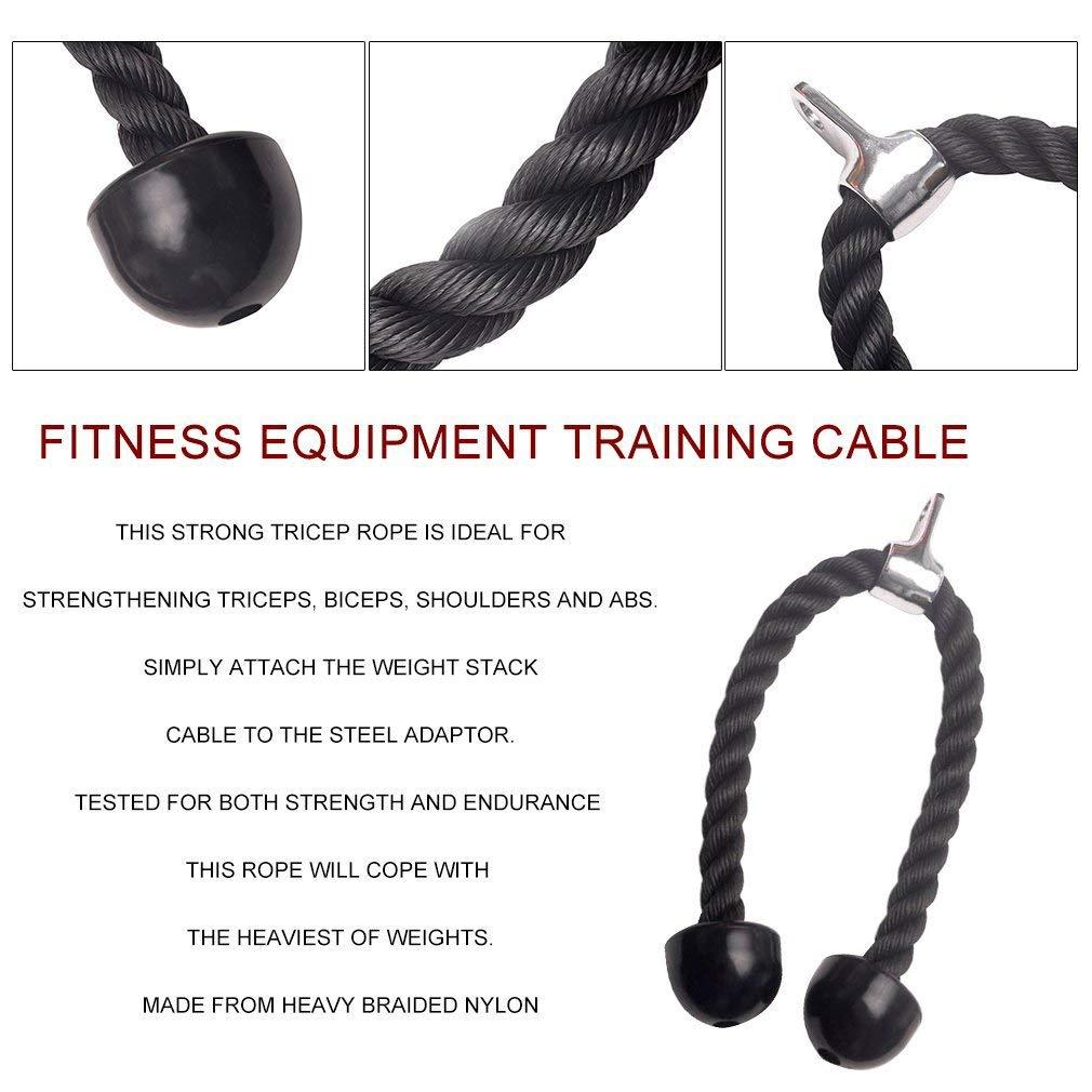 Fitness directa cuerda de tríceps Cable accesorio entrenamiento de gimnasio de peso cuerpo: Amazon.es: Deportes y aire libre