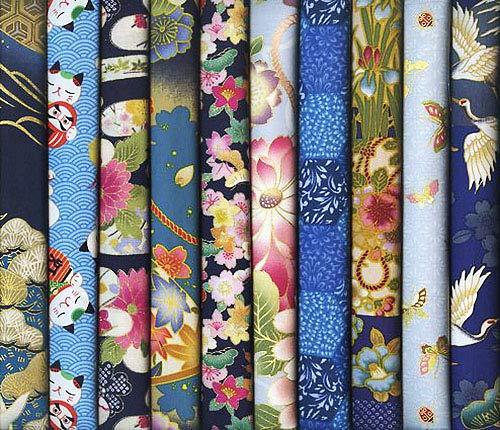 10 Blue Asian Japanese Fat Quarter Quilt Fabric Bundle #16 (2 1/2 Yards Total)