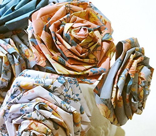 Coral Blue Floral Paper Roses Shabby Chic Home Décor Wedding Bouquet Christmas Anniversary Mother's Day Gift For Her Wife Fiancée Table Décor Artificial Flowers Floral (12 Stemmed Roses)