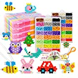 Aqua water beads Beginners Studio perler fusion Craft beads Art Crafts toys for kids non toxic with bead palette, layout table, bead pen, bead peeler, sprayer, template sheets -15 colors(2400pcs)