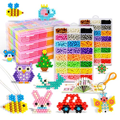 Aqua water beads Beginners Studio perler fusion Craft beads Art Crafts toys for kids non toxic with bead palette, layout table, bead pen, bead peeler, sprayer, template sheets -15 colors(2400pcs) by qiaoniuniu