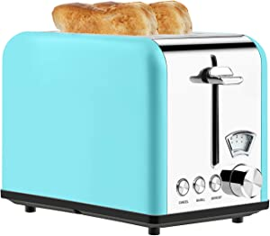 Toaster 2 Slice Best Rated Prime Stainless Steel Toaster Retro Wide Slot Cool Touch Bagel Toasters 5-Bread Shade Settings Removable Crumb Tray Compact Toaster with Pointer Display 5 Shade Settings (Blue, 825W)