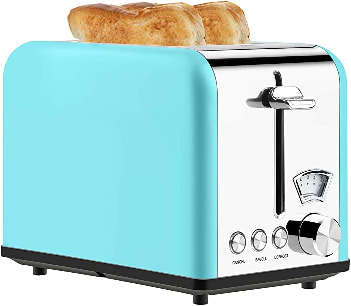 Toaster 2 Slice Best Rated Prime Stainless Steel Toaster Retro Wide Slot Cool Touch Bagel Toasters 5-Bread Shade Settings Removable Crumb Tray Compact Toaster with Pointer Display 5 Shade Settings