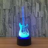 Kingchip Cool Guitar Bass 3D LED LAMP NIGHT LIGHT for Musicians Home Decoration Student Birthday Christmas Present Gift