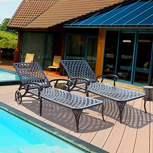HOMEFUN Chaise Outdoor Aluminum Wheels Lounges Chair Adjustable Reclining Patio Furniture Set