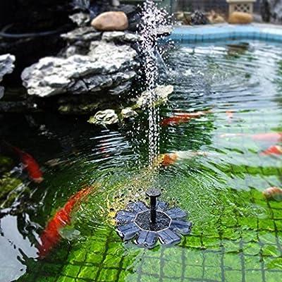 Y56 Bomba de agua para fuente solar, funciona con energía solar, 1 W, panel solar, bomba de agua, bomba sumergible para estanque, piscina, jardín, pecera, acuario, color negro: Amazon.es: Jardín