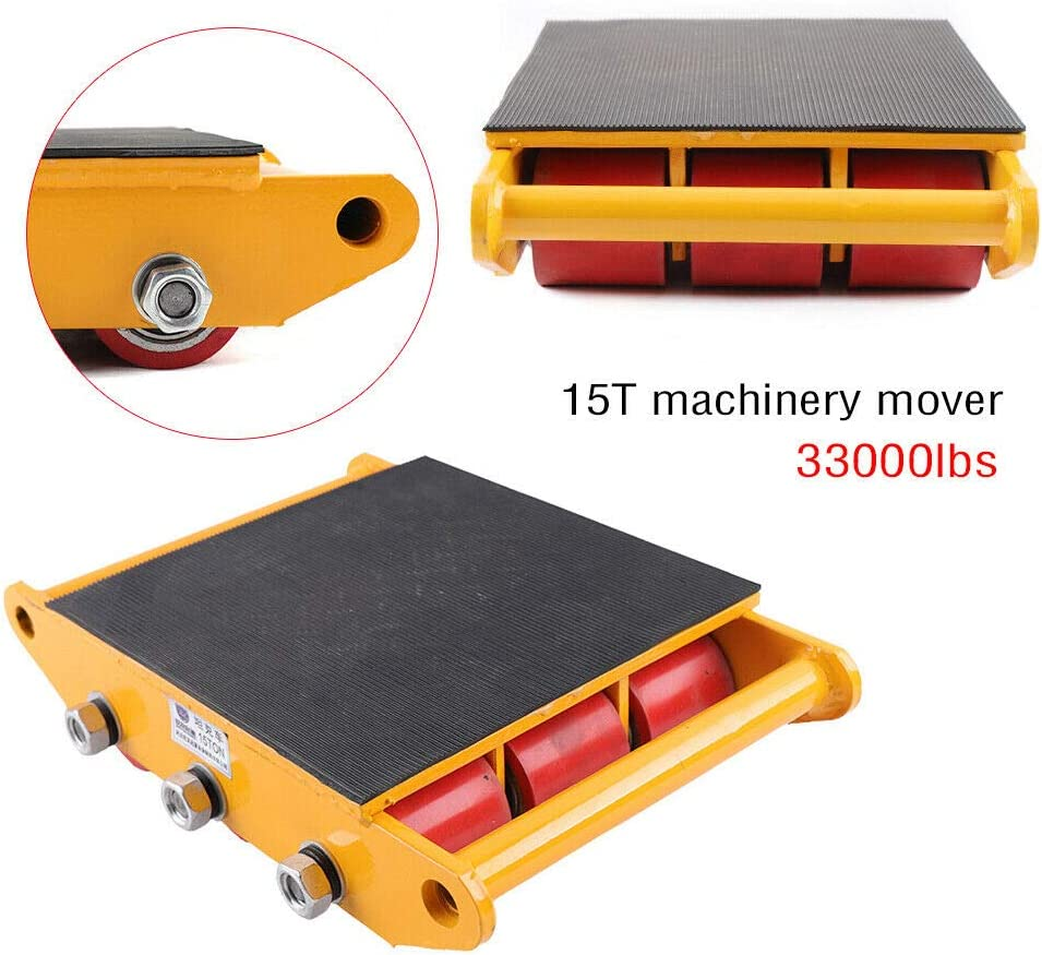 13200LB Capacity Industrial Machinery Mover 13200lb 6T Machinery Mover Roller Dolly with 360/°Swivel Top Plate Yellow