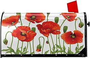 Foruidea Spring Wild Flower Poppy Ladybug Leaf Springtime Garden Mailbox Covers Magnetic Mailbox Wraps Post Letter Box Cover Standard Oversize 21 X 18 Mailwrap Garden Home Decor
