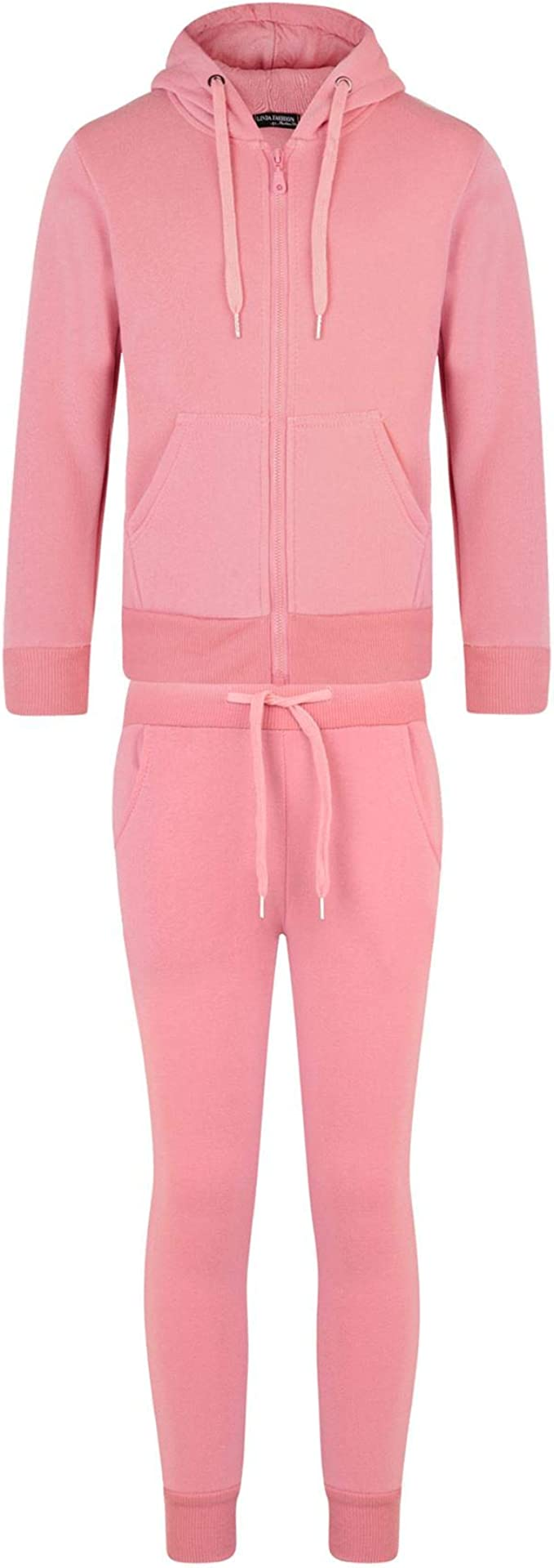 LotMart Kids Plain Tracksuit Trousers in Pink 15-16 Years