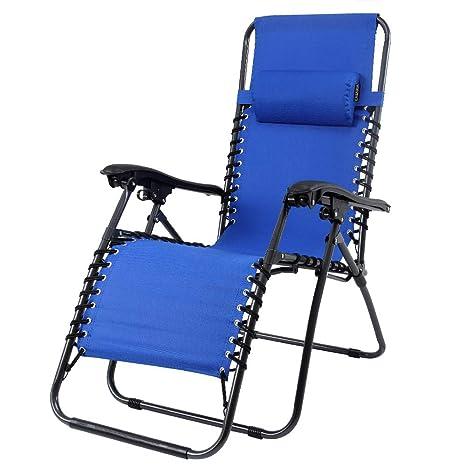 Casaria Silla Larga y Plegable Azul con Estructura de Acero