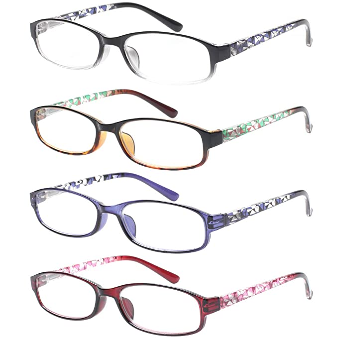 4f5e92f9d22e Reading Glasses 4 Pairs Spring Hinge Comfort Fashion Quality Readers for Men  and Women (4