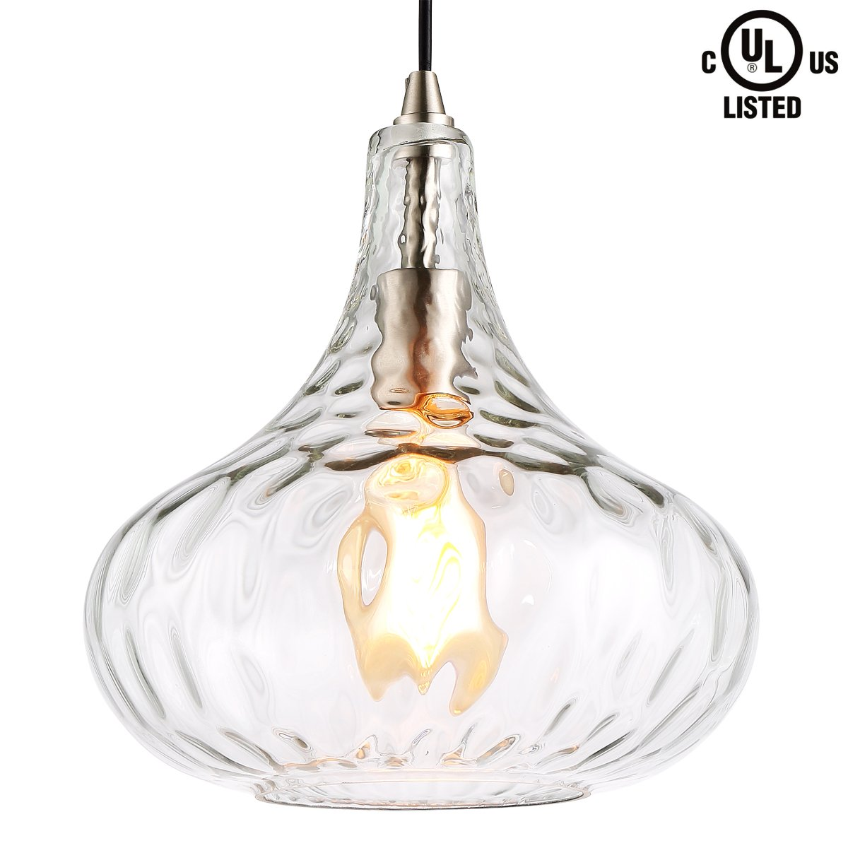 HOMIFORCE Modern Style 1-Light Water Glass Pendant Lighting with Hand Blown Glass Shade in Modern Industrial Edison Style Hanging CL2017039 (Virgo Glass) by HOMIFORCE