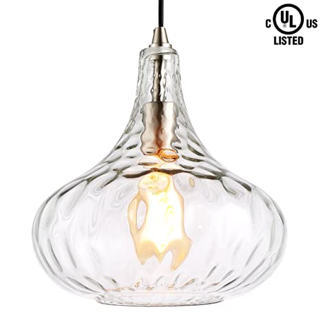 772b8354b170 HOMIFORCE Modern Style 1-Light Water Glass Pendant Lighting with Hand Blown  Glass Shade in