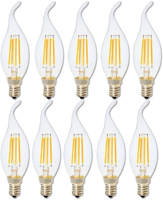 Bombillas Vela de Filamento LED E14,4W Equivalente a 40W,360 lúmenes,Color Blanco cálido 2700K,Bombilla Retro Vintage,No regulable - Pack de 10 Unidades.: Amazon.es: Iluminación