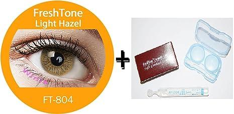 Lentillas de color avellana, sin corrección, 12 meses de uso, incluye solución multifunción para lentillas (10 ml), estuche (color aleatorio), pinza y ...