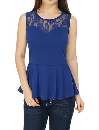 94e7b782b4204 Allegra K Women s Round Neck Lace-Paneled Sleeveless Christmas Peplum Top  XS Blue