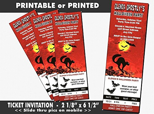 Black Cat Halloween Party Ticket Invitation, Printable or Printed Option -