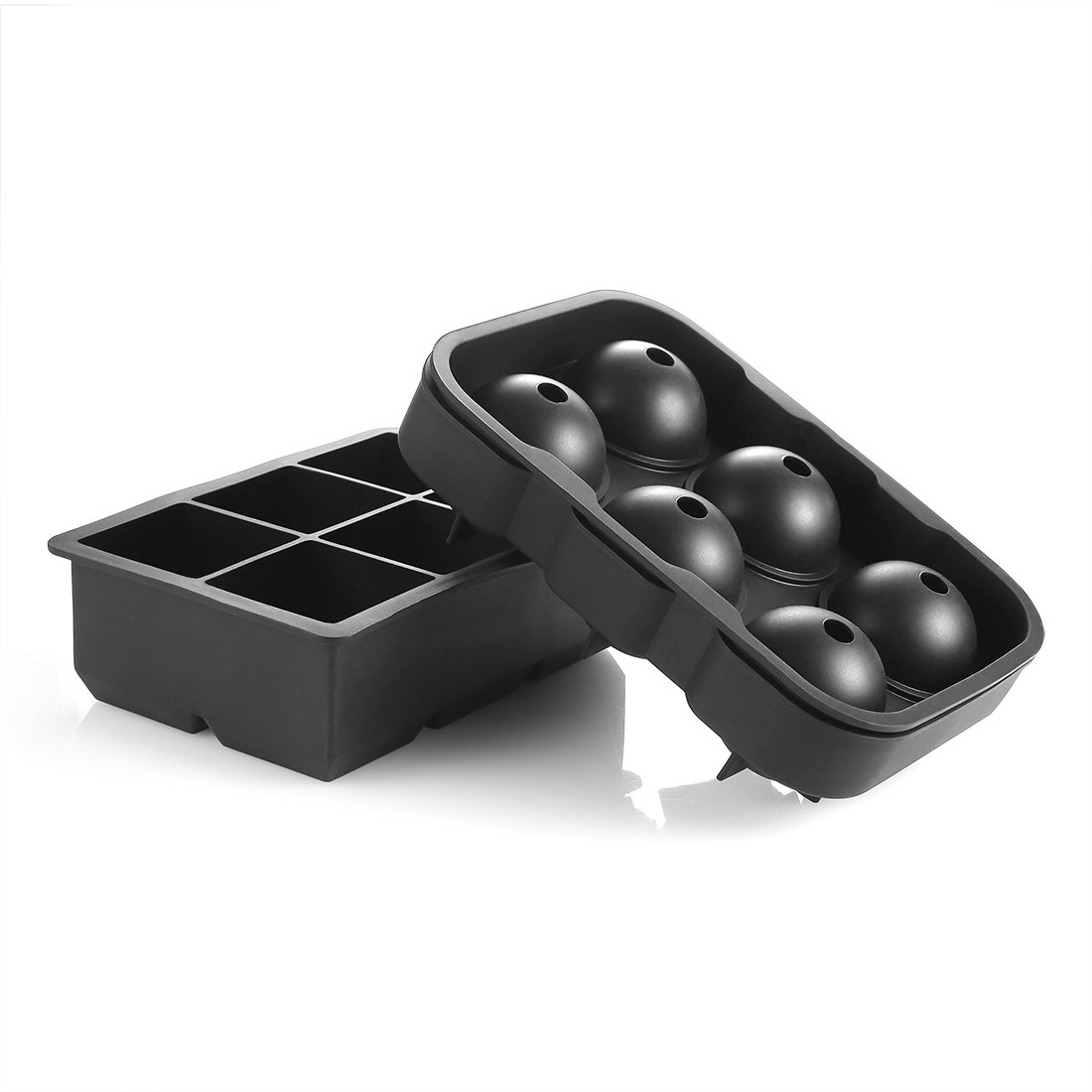 Ice Mold Better-Nee Large Ice Cube Trays Silicone Sphere Black Flexible Ice Ball Maker & Square Cubes Tary BPA Free Reusable Set of 2