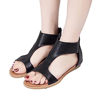 c5f0e2fadbcdc Sunbona Women Flat Gladiator Sandals Ladies Summer Open Toe Anti-Slip Back  Zipper Closed Casual Beach Shoes