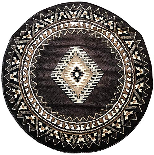 (Kingdom Southwest Native American Round Area Rug Chocolate Brown Design D143 (6 Feet 7 Inch X 6 feet 7 Inch Round))