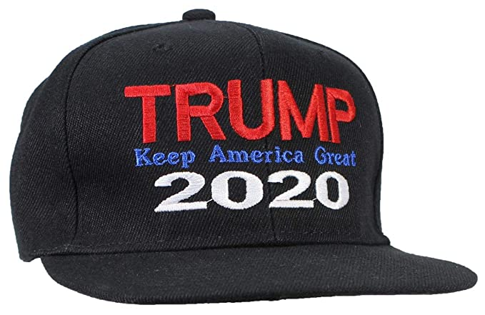 c77e02f2f92eb Tropic Hats Adult Embroidered Trump 2020 Keep America Great Flat Bill  Snapback - Black