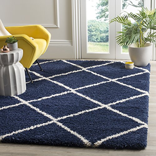 Safavieh Hudson Shag Collection SGH281C Navy and Ivory Moroccan Diamond Trellis Square Area Rug (5' Square)