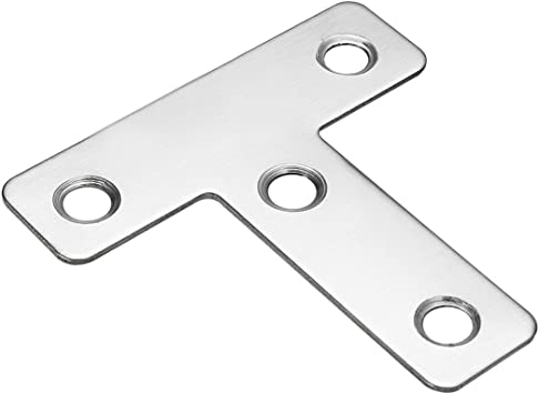 MroMax Flat T Shape Repair Mending Plate Pack of 5 Stainless Steel Joining Bracket Support Brace 50mmx50mm