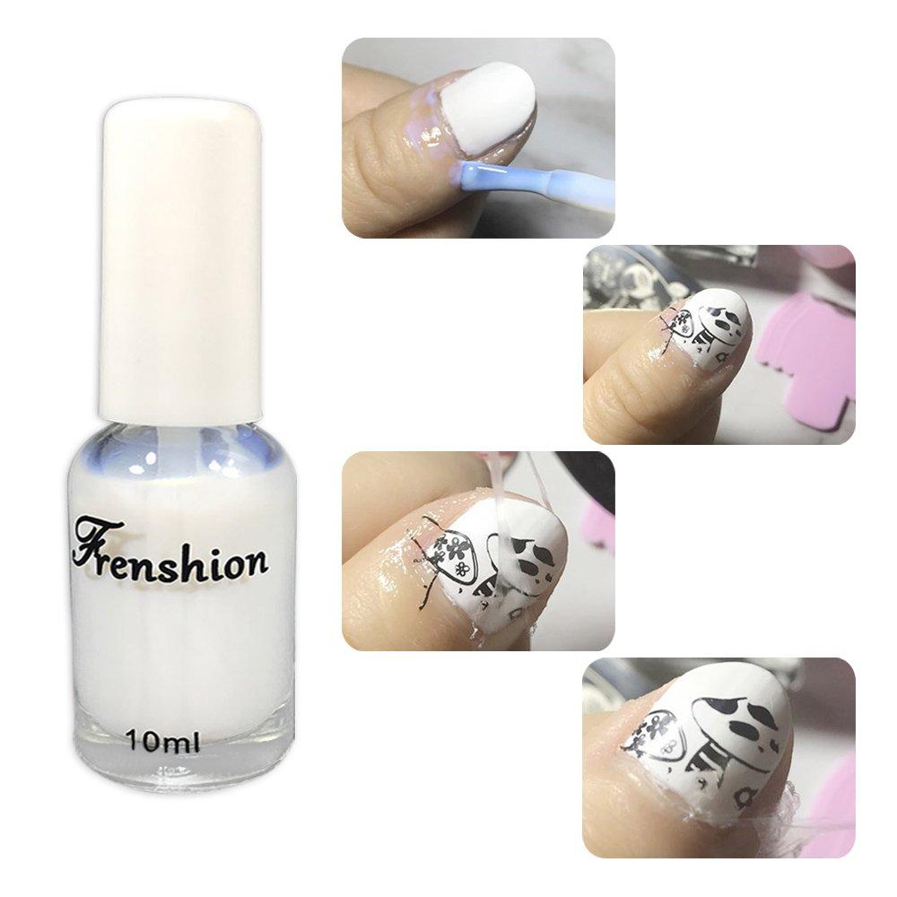 Frenshion 10ML Peel Off Pinzas para arte de uñas de acero inoxidable de látex líquido y Nail Art Juego de herramientas para empuje de cutículas de Orange Wooden Stick