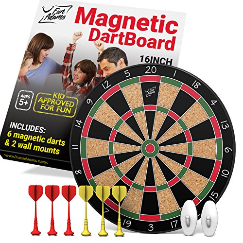 Fun Adams 16 inch Magnetic Dartboard with Safe Precision Darts, Best Gift for Boys & Girls, Great Classic Game the Whole Family can Enjoy - Play in Teams or Solo, Simple & Easy to Install (Archery Targets Dartboard)