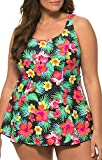 Caribbean Sand Womens Plus Size High Fashion Swimdress Style One Piece Polkadot Flower Print Swimsuit, 24, Multicolor