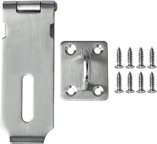 Loquet de porte en acier inoxydable - Pour installation d'un cadenas - Vis incluses, argent