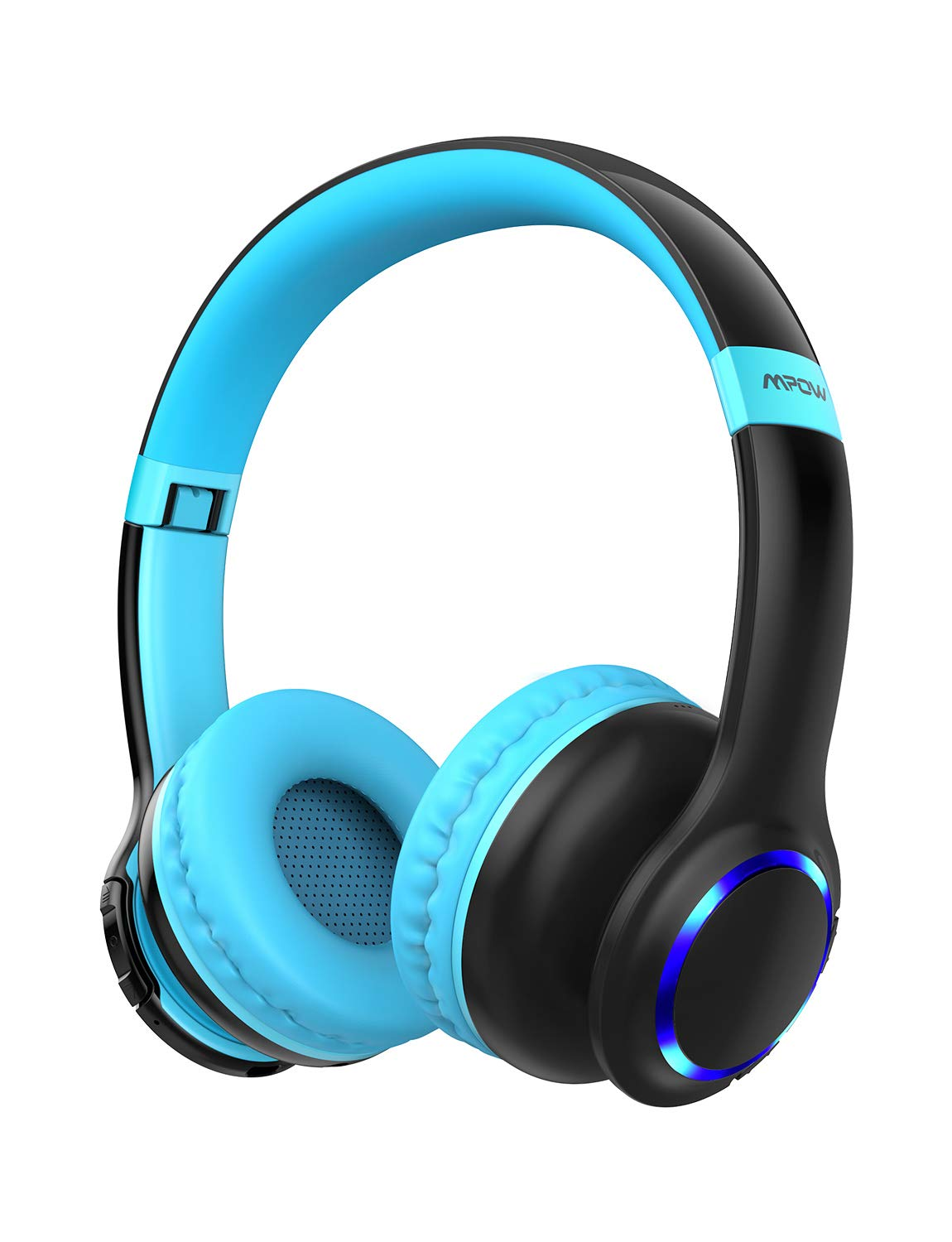 Mpow CH9 Kids Headphones Bluetooth 5.0 LED Light, 14Hours Playing Wireless Foldable Headset w Mic, Volume Limited 85dB-95dB for PC Cellphone TV School