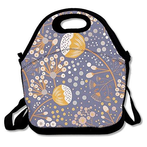 Ltgyth Premium Lunch Bag Petite Flowers Tote Handbag Lunchbox With Shoulder Strap