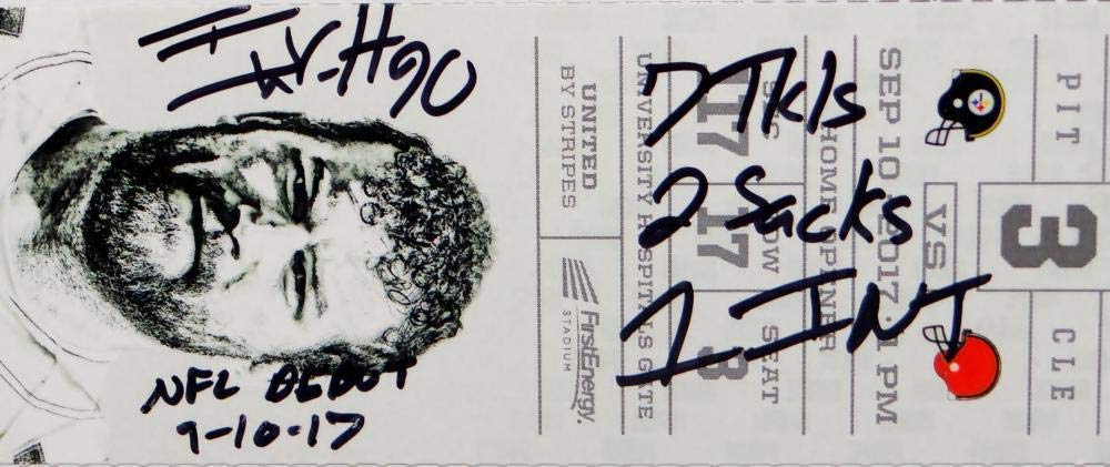 Autographed Tj Watt Signed NFL Debut Game Ticket With 4 Inscriptions JSA Certified