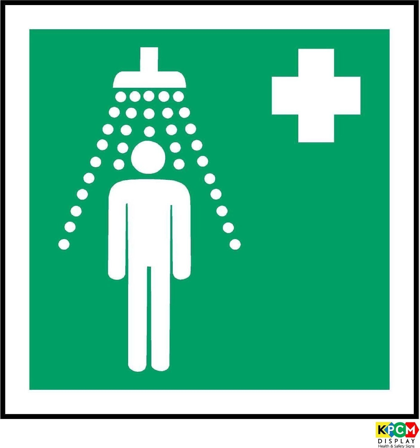 Iso safety sign international safety shower symbol self adhesive iso safety sign international safety shower symbol self adhesive sticker 150mm x 150mm amazon industrial scientific biocorpaavc Image collections