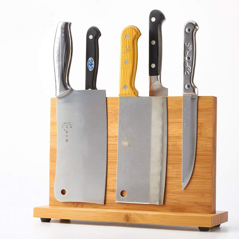 Magnetic Knife Block KitchenKnifeBlock Wooden MagneticKnifeHolder BambooKnifeStand Knife Dock by WOOYAN (Image #2)