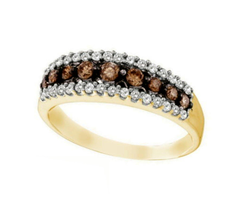 14K Yellow Gold Brandy Diamond Chocolate Brown Stunning Eternity Ring 1/2 Ctw.