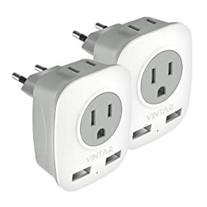 [2-Pack] European Adapter, VINTAR International Power Adaptor with 2 USB Ports,2 American Outlets- 4 in 1 European Plug Adapter for France, German, Greece, Italy, Israel, Spain (Type C)