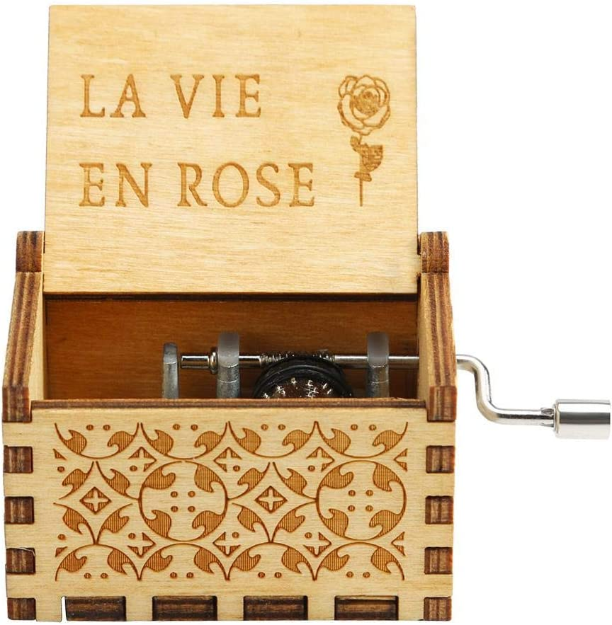 Caja de música de Madera Antigua Caja de música con manivela Cumpleaños de Navidad Decoración de Regalos: Amazon.es: Hogar