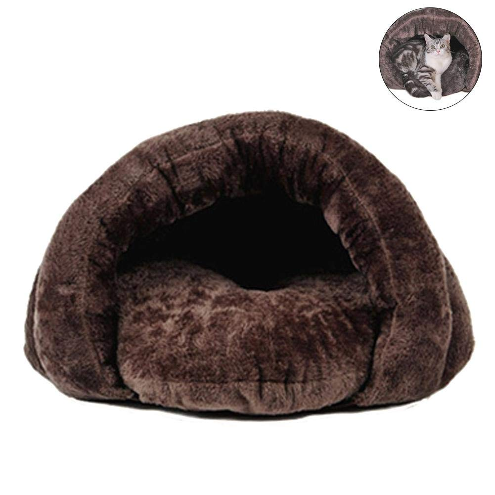 Brown M Brown M Pet Nest Sleeping Bag Closed Type Removable Ultra Cozy Plush Cat Nest for Pet Dogs and Kitten Nest