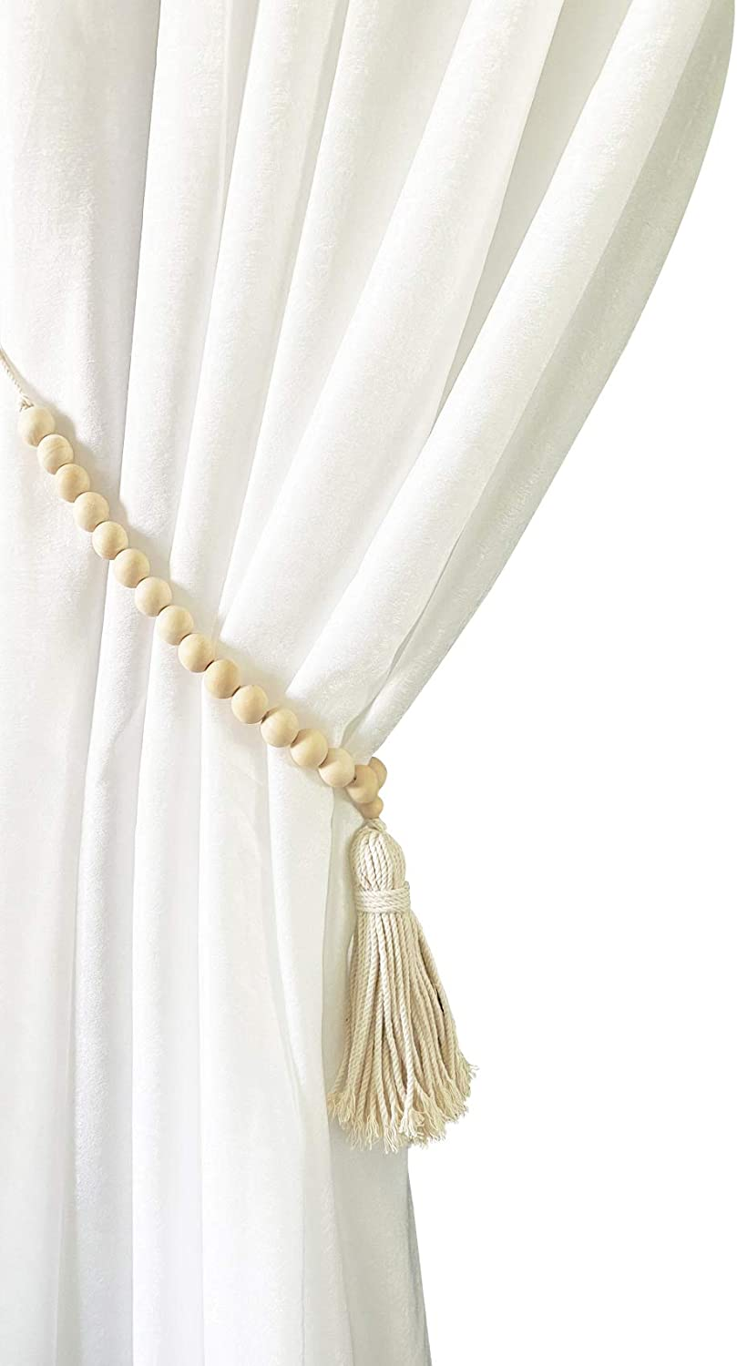 ZILucky Set of 2 Farmhouse Beaded Wood Curtain Tiebacks with Tassels Housewarming Gift Window Curtain Holdbacks Tie Band for Drapes Home Party Décor Accessories