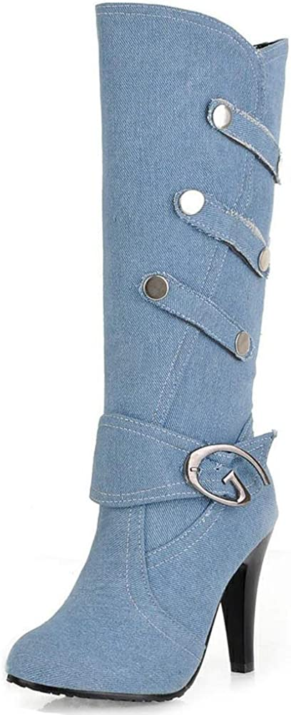 SaraIris Women Thin High Heel Denim Buckle Strap Mid Calf Boots