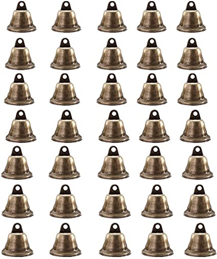 30 Pieces Vintage Jingle Bells Bronze Tone Bells Dog Door Bell for Wind Chimes Making Crafts Decorations and Dog Training Jingle Belsl for Crafts