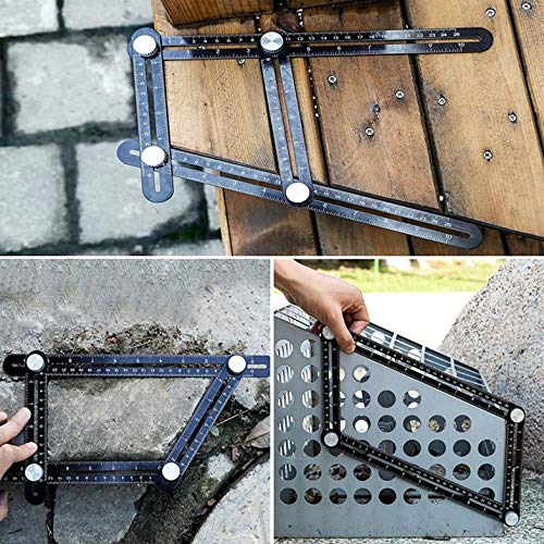 ouying1418 Aluminum Alloy Six-Fold Ruler Tile Opening Locator Mud Tile Shop Paste Floor