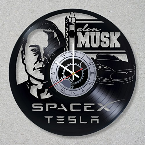Price comparison product image Vinyl Record Wall Clock Elon Musk Tesla Car SpaceX decor unique gift ideas for friends him her boys girls World Art Design